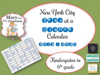 New York City DOE Year at a Glance Calendar Freebie K - 6