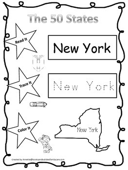 New York Read it, Trace it, Color it Learn the States pres