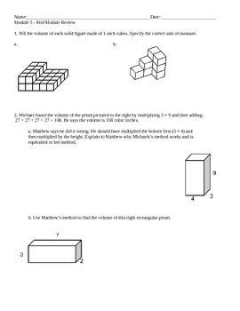New York State 5th Grade Math Module 5 Mid-Module Review W