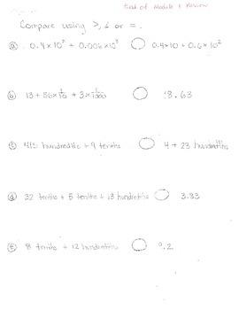 New York State Grade 5 Math Common Core Module 1 End of Mo