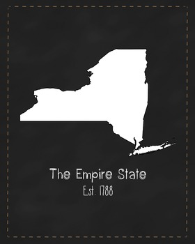 New York State Map Class Decor, Government, Geography, Bla
