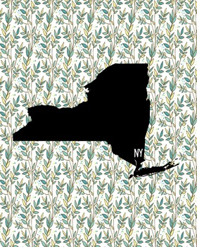 FREEBIE! New York Vintage State Map or Poster Class Decor,