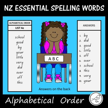 New Zealand Essential Spelling Words  -  Alphabetical Order cards