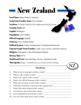 New Zealand Information & Worksheet