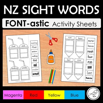 New Zealand Sight Words – 'FONT-astic' activity sheets