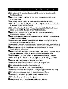 Newbery Award Winners checklist