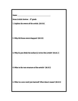 News Article Response - 4th Grade - Common Core Aligned
