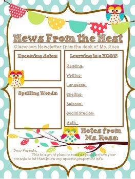 News From The Nest- Owl-themed Newsletter