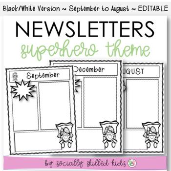 Newsletters: Superhero Theme B/W
