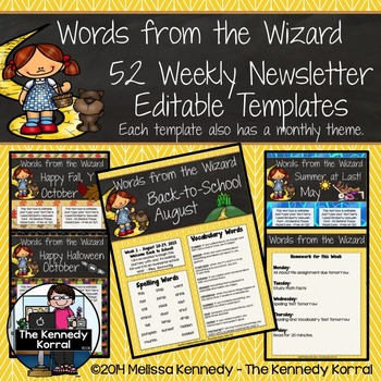 52 Weekly Editable Newsletter Templates {Wizard of Oz}