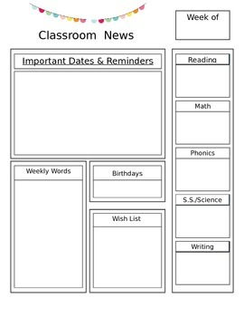 Editable Newsletter Outline