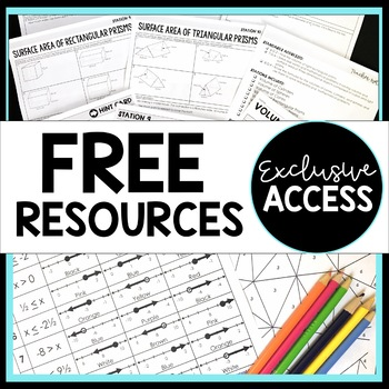 Exclusive Free Middle School Math Resources : Newsletter Sign Up