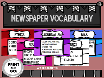 Newspaper [Journalism] Vocabulary Terms-Cards, Color, Blac