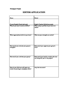 Newspaper Project- Editor Application