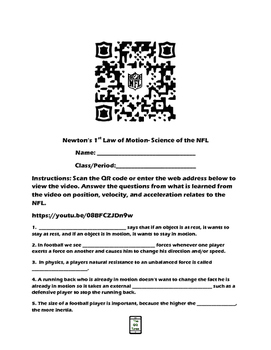 Newton's 1st Law of Motion-Science of the NFL QR Code Vide