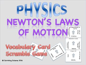 Newton's Laws of Motion Physics Vocabulary Scramble