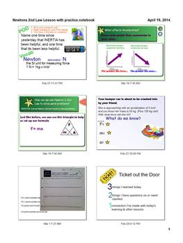 Newton's 2nd Law Notebook SmartBoard with differentiated practice
