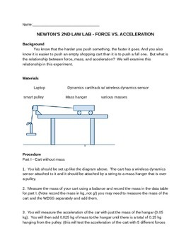 Newtons 2nd Law Physics Lab