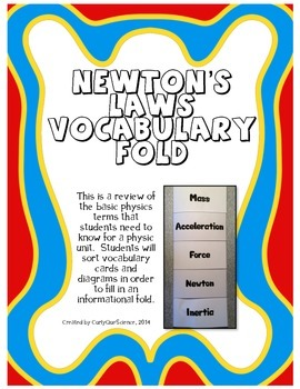 Newton's Laws Vocabulary Fold