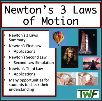 Newton's 3 Laws of Motion Lesson -Lesson Package, Video As