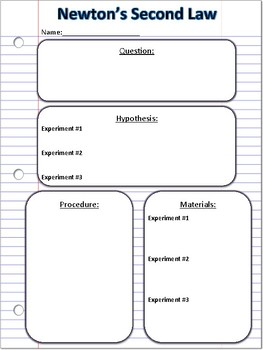 Newtons Second Law Experiment Sheet