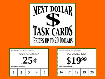 Next Dollar (Dollar Up) Task Cards (Prices up to 20 Dollars)