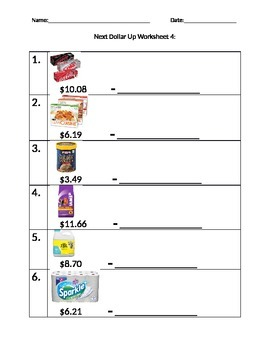 Next Dollar Up Worksheet