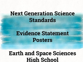 Next Generation Science Evidence Statement Posters - Earth