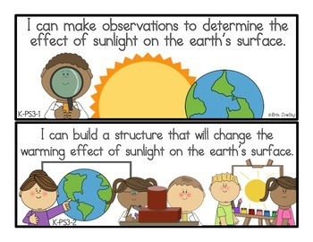 """Next Generation Science Standards """"I Can"""" Statements: Kind"""