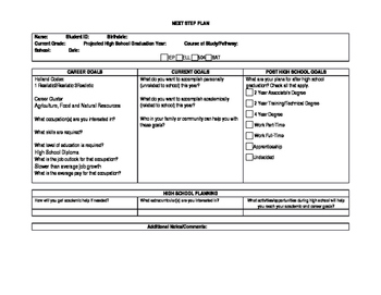 Next Step Plan Fillable Template for High School, College,