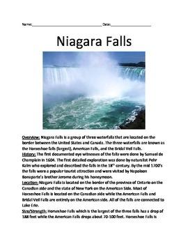 Niagara Falls - Lesson Review Article Facts Questions Voca