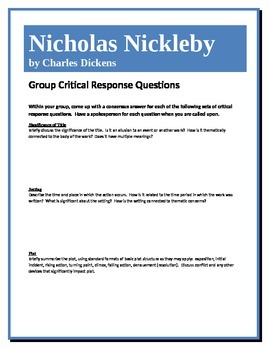 Nicholas Nickleby - Dickens - Group Critical Response Questions