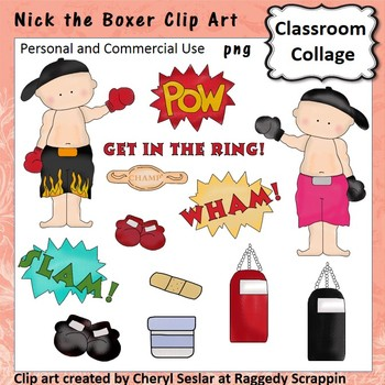 Nick the Boxer - Color - pers & comm boxing gloves bag
