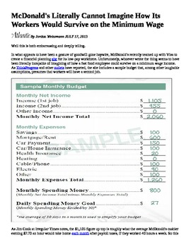 Nickel and Dimed - Newspaper Article -Budget Sheet for McD