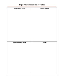 Night at the Museum  Activity Sheet