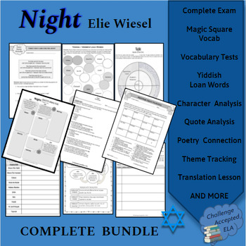 Night by Elie Wiesel Activity Pack and Exam