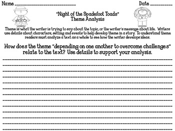 """""""Night of the Spadefoot Toads"""" Theme Analysis"""