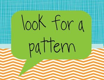Nine Blue & Orange Math Strategy Posters