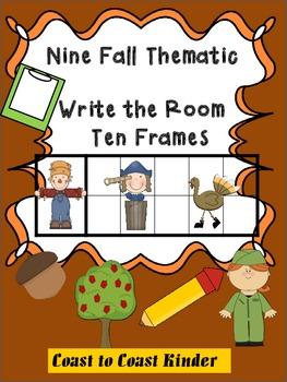 Fall Themed- Write the Room 10 Frames (Nine)