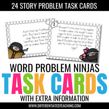 Problem Solving with Extra Information Test Prep Task Card