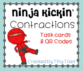 SCOOT Ninja Kickin' Contractions :: Task Cards and QR Code