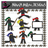 Ninja Kids Clip Art in Color and Black Line