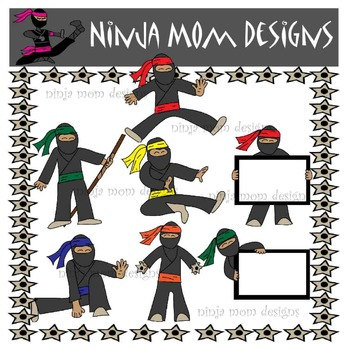 Ninja Kids Clip Art in Color and Black Line