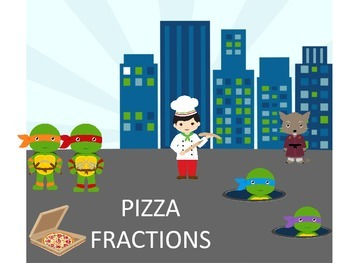 Ninja Turtle Fraction Pizza Center and Worksheets 60 PAGES