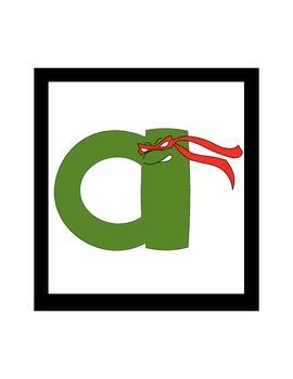 Ninja Turtle Lowercase Alphabet Cards