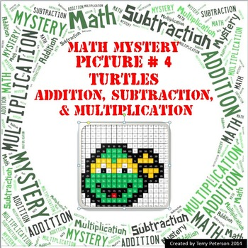 Ninja Turtles Math Mystery Picture #4  ~ Addition, Subtrac