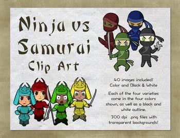 Ninja and Samurai Clip Art