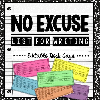 No Excuse List for Writing - Desk Tag