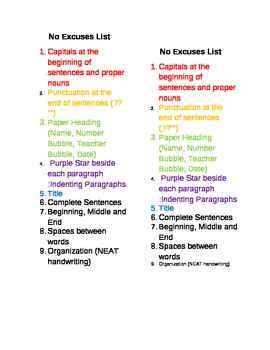 No Excuses List for Writing