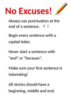 No Excuses Poster -  English Story Writing Tips!